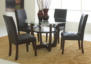 Apollo Beveled Glass Dining Table w/4 Side Chairs