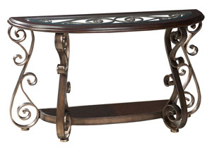 Bombay Scrolled-Metal Grill Sofa Table w/Wood Glass-Inlay Top & Shelf