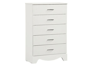 Vogue White Faux Crocodile 5 Drawer Chest