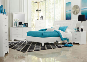 Vogue White Faux Crocodile Upholstered Queen Bed w/Dresser, Mirror, Nightstand & Drawer Chest