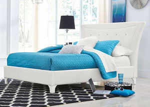 Vogue White Faux Crocodile Upholstered Queen Bed
