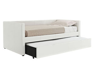Lindsey White Upholstered Twin Daybed w/Pull-Out Trundle