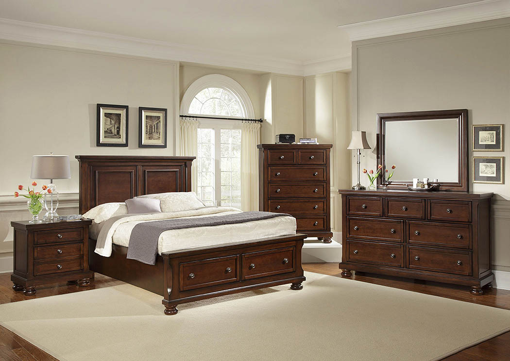 Reflections Dark Cherry Queen Storage Bed w/ Dresser, Mirror, Drawer Chest and Nightstand,Vaughan-Bassett