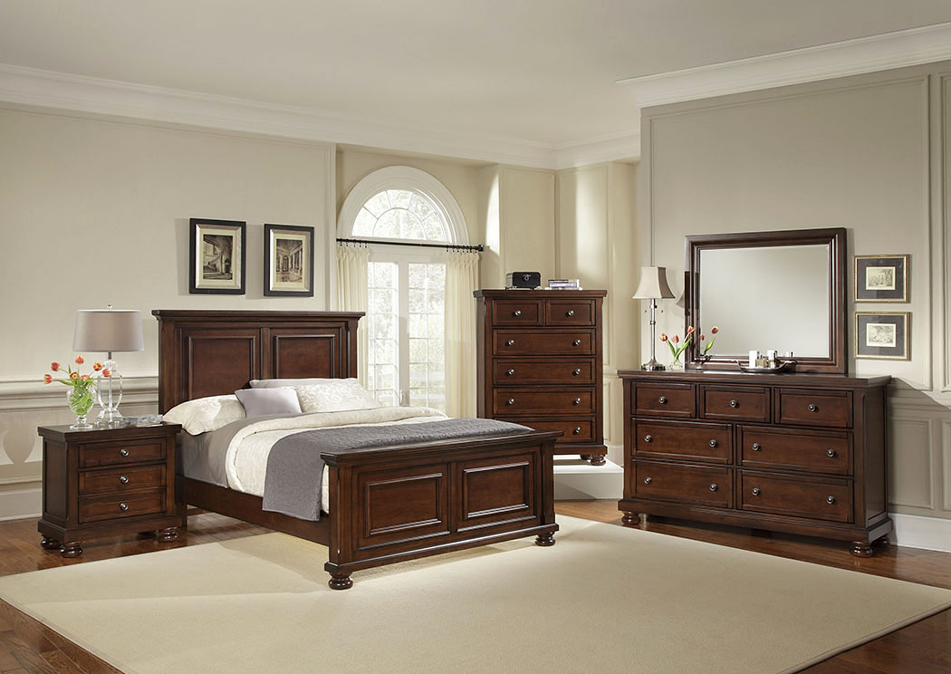 Reflections Dark Cherry Queen Panel Bed w/ Dresser, Mirror, Drawer Chest and Nightstand,Vaughan-Bassett