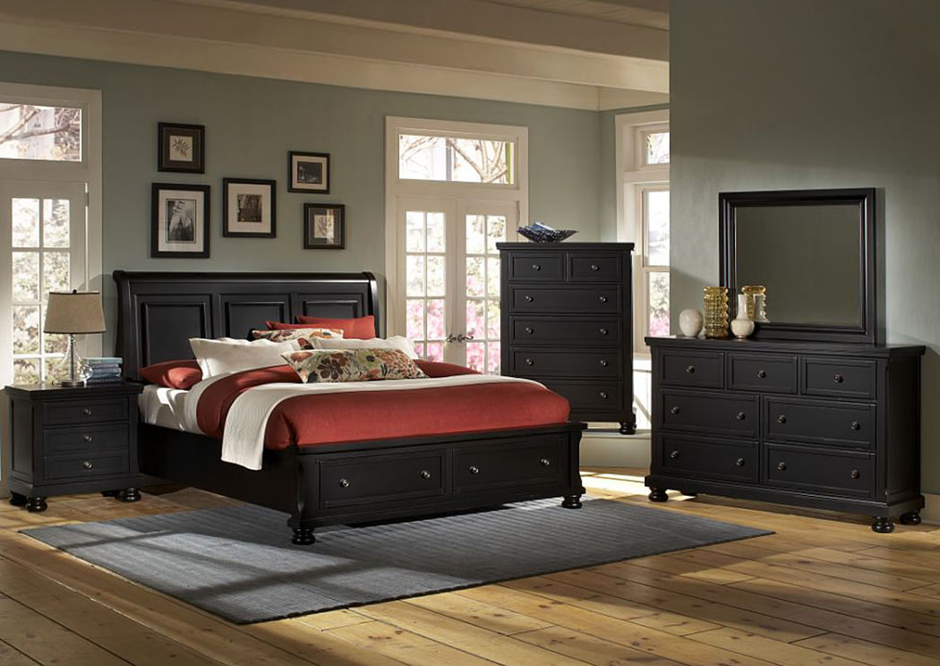 Reflections Ebony Queen Storage Sleigh Bed w/ Dresser and Mirror,Vaughan-Bassett