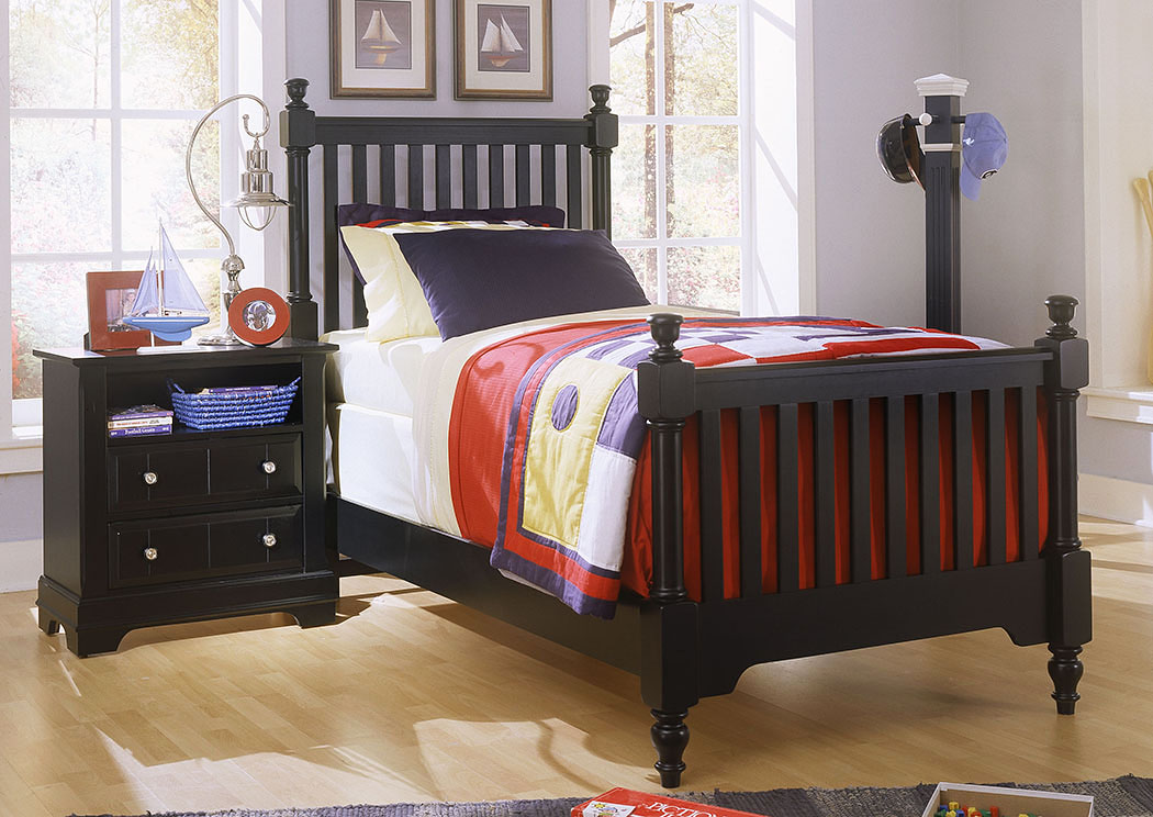 The Cottage Collection Black Twin Poster Bed,Vaughan-Bassett