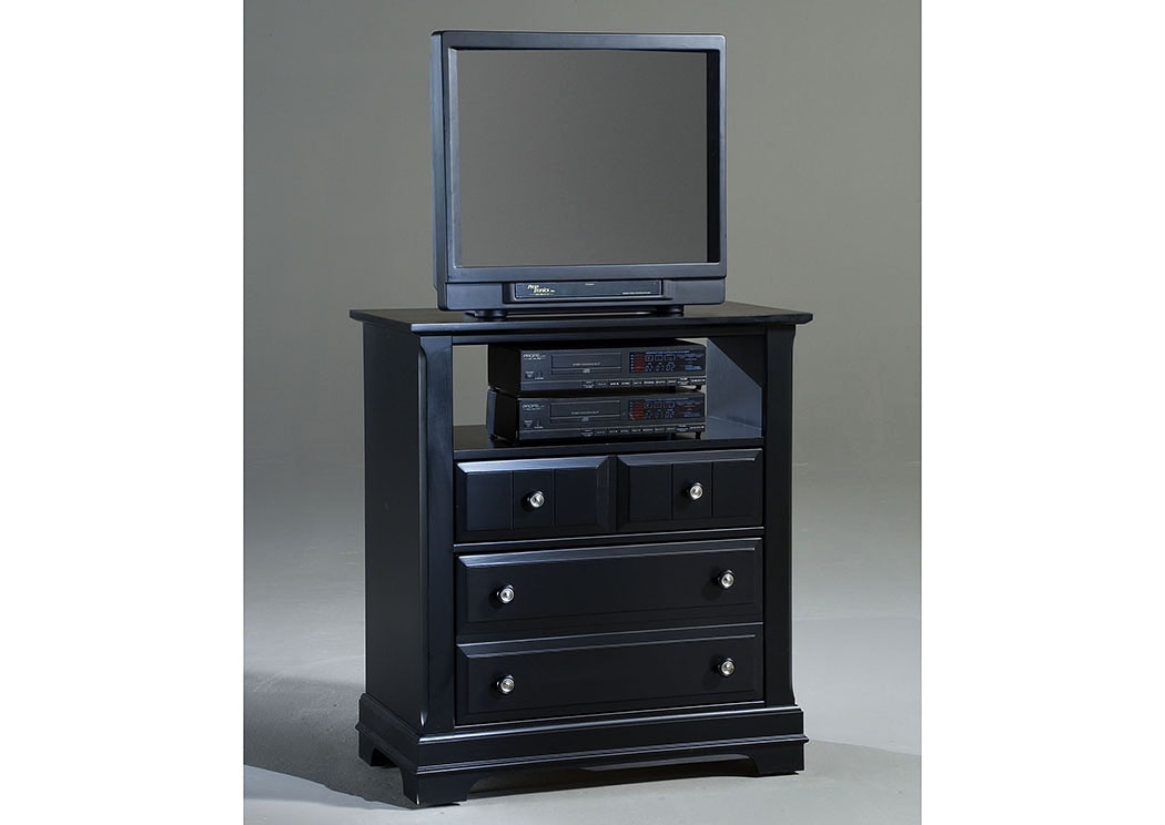 The Cottage Collection Black Media Cabinet - 2 Drawers, Open Shelf,Vaughan-Bassett