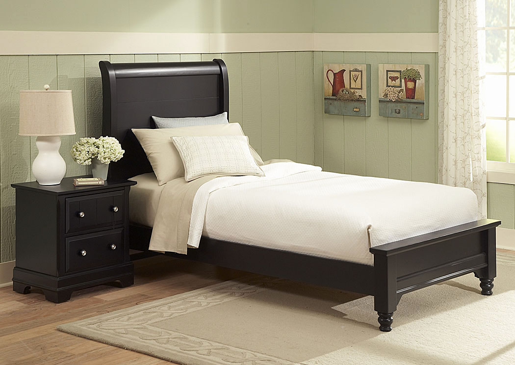 The Cottage Collection Black Twin Sleigh Platform Bed,Vaughan-Bassett