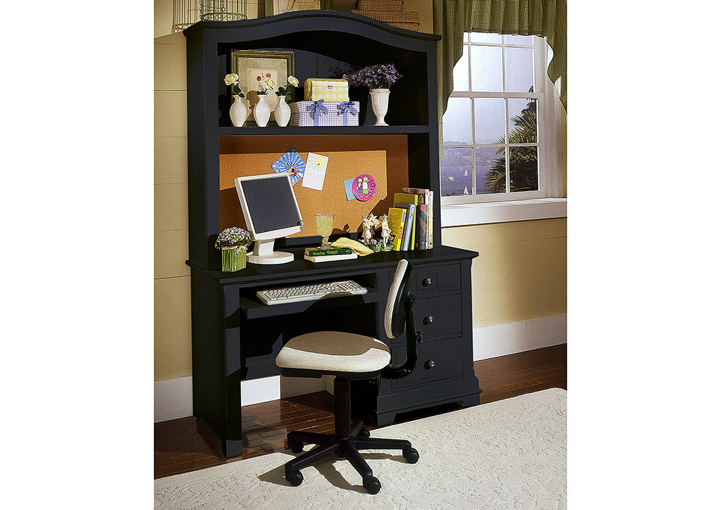The Cottage Collection Black Computer Desk w/ Hutch,Vaughan-Bassett