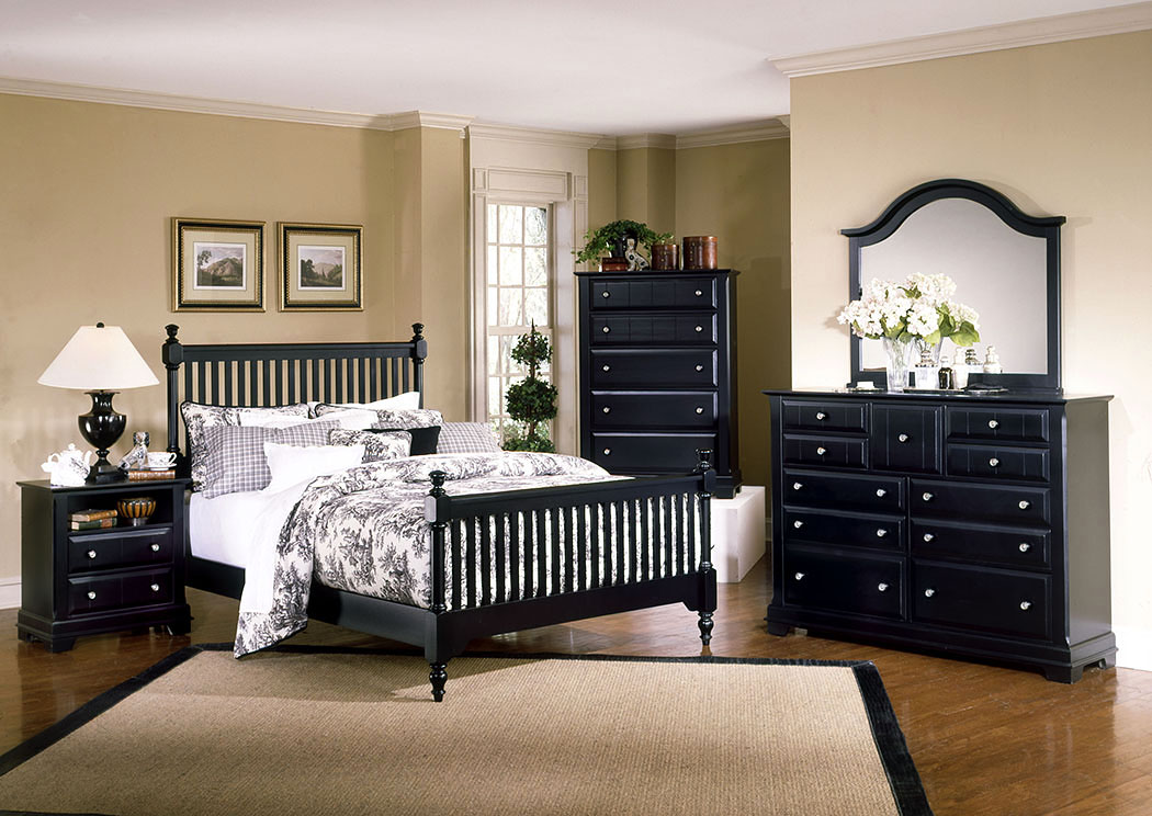 The Cottage Collection Black California King Poster Bed w/ Dresser, Mirror, Drawer Chest and Commode,Vaughan-Bassett