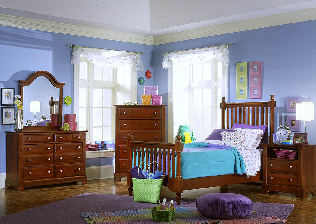 The Cottage Collection Cherry Twin Poster Bed w/ Dresser and Mirror,Vaughan-Bassett