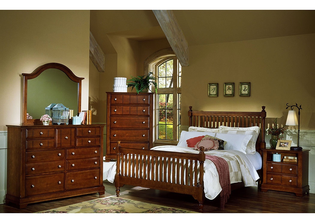 The Cottage Collection Cherry California King Poster Bed w/ Dresser, Mirror and Drawer Chest,Vaughan-Bassett