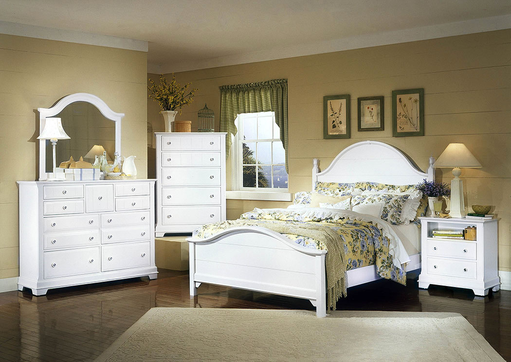 The Cottage Collection Snow White California King Panel Bed w/ Dresser, Mirror and Drawer Chest,Vaughan-Bassett