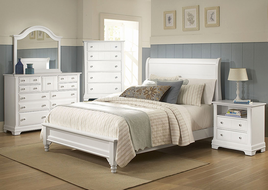 The Cottage Collection Snow White King Sleigh Platform Bed w/ Dresser, Mirror and Drawer Chest,Vaughan-Bassett