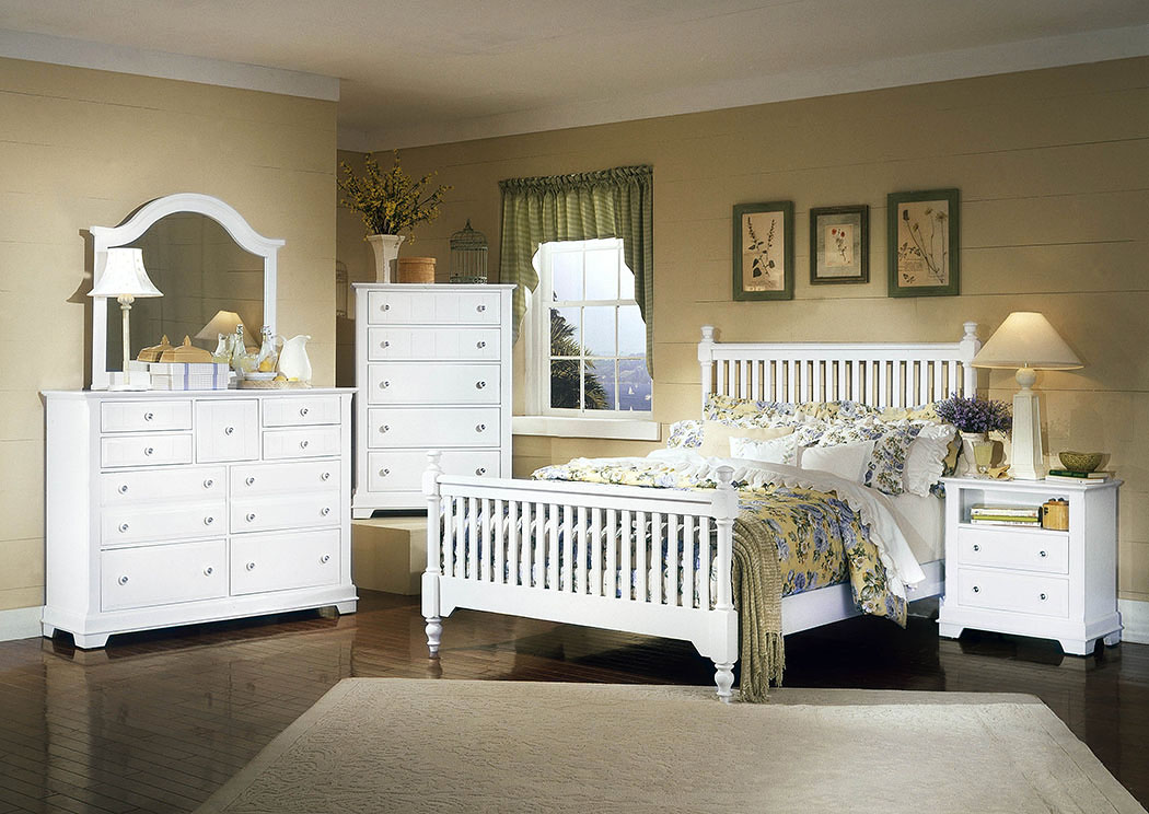 The Cottage Collection Snow White King Poster Bed w/ Dresser, Mirror and Drawer Chest,Vaughan-Bassett