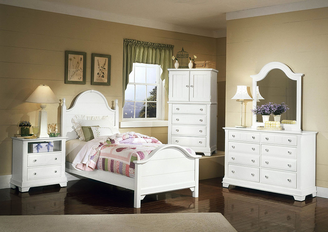 The Cottage Collection Snow White Twin Panel Bed w/ Dresser, Mirror, Vanity Chest and Commode,Vaughan-Bassett