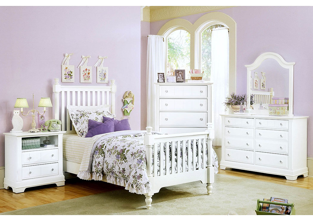 The Cottage Collection Snow White Twin Poster Bed w/ Dresser, Mirror and Drawer Chest,Vaughan-Bassett