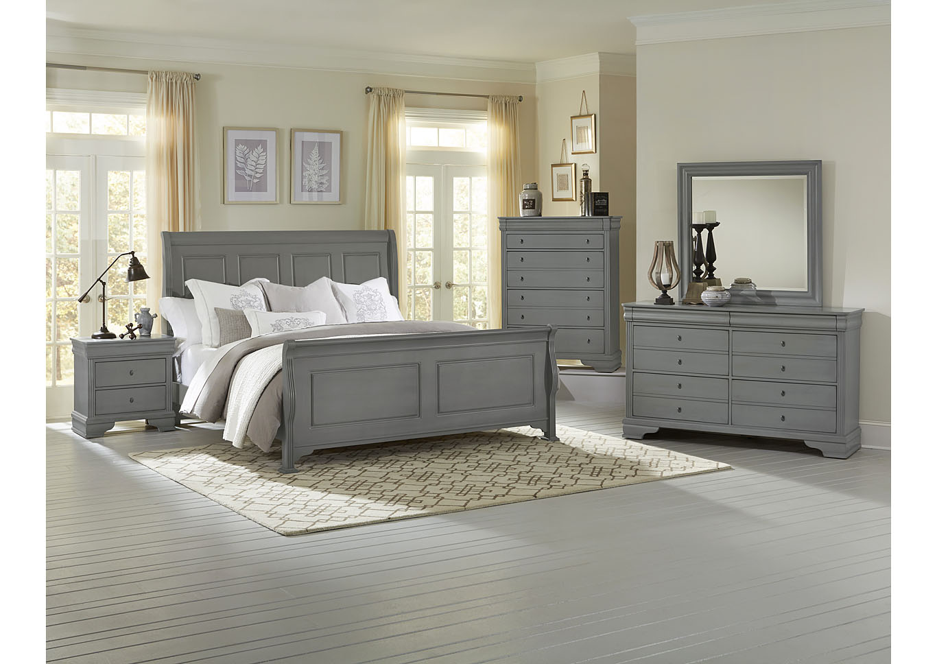 French Market Zinc King Poster Bed w/ Dresser, Mirror, Drawer Chest and Nightstand,Vaughan-Bassett