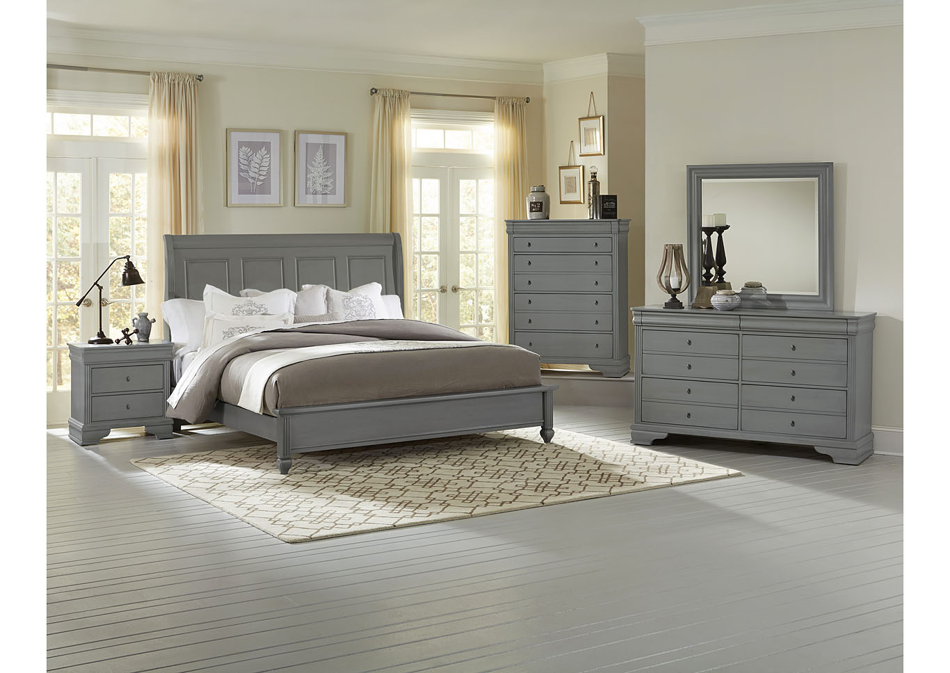 French Market Zinc Queen Sleigh Bed w/ Dresser, Mirror and Drawer Chest,Vaughan-Bassett