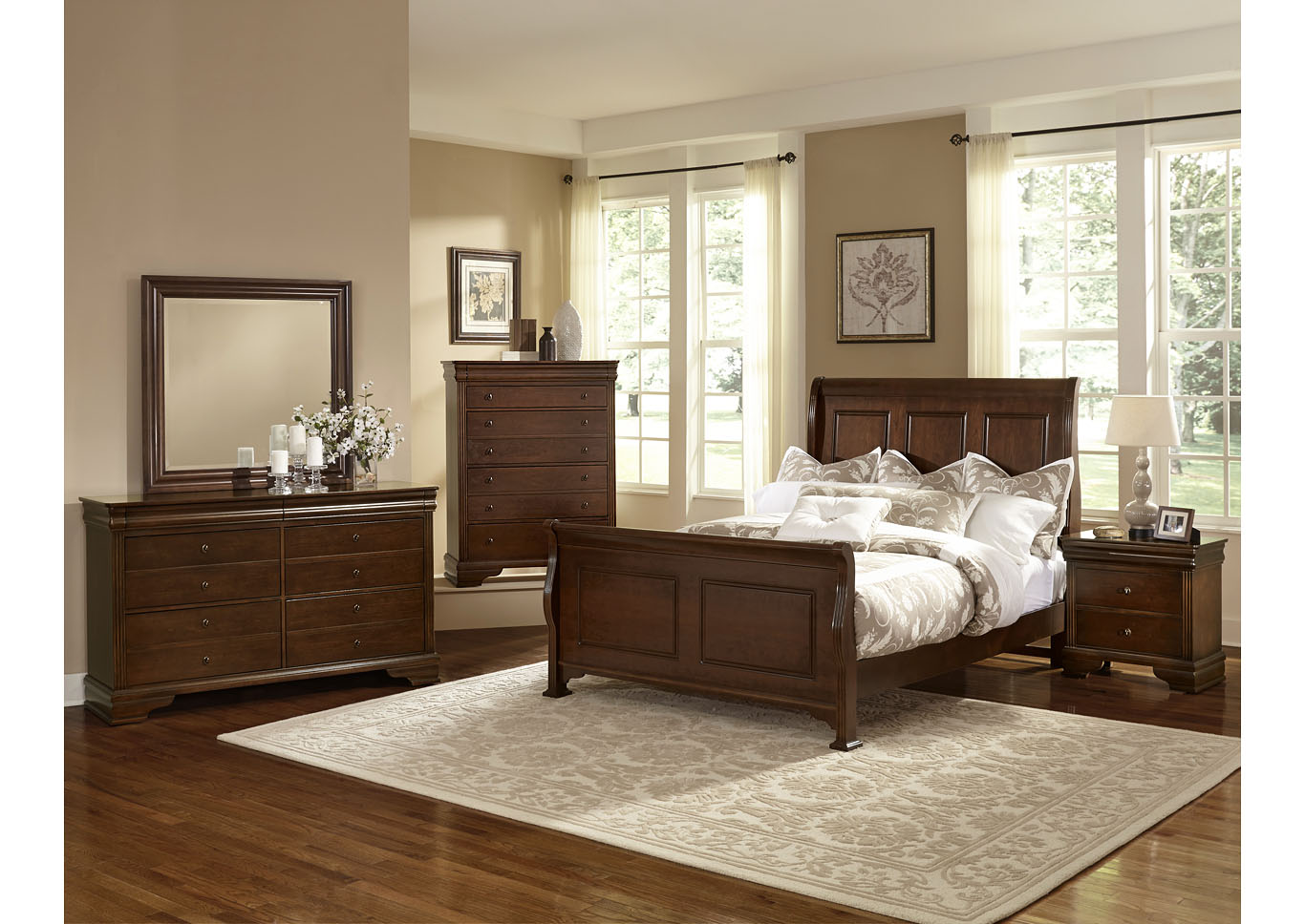 French Market French Cherry King Poster Bed w/ Dresser, Mirror, Drawer Chest and Nightstand,Vaughan-Bassett