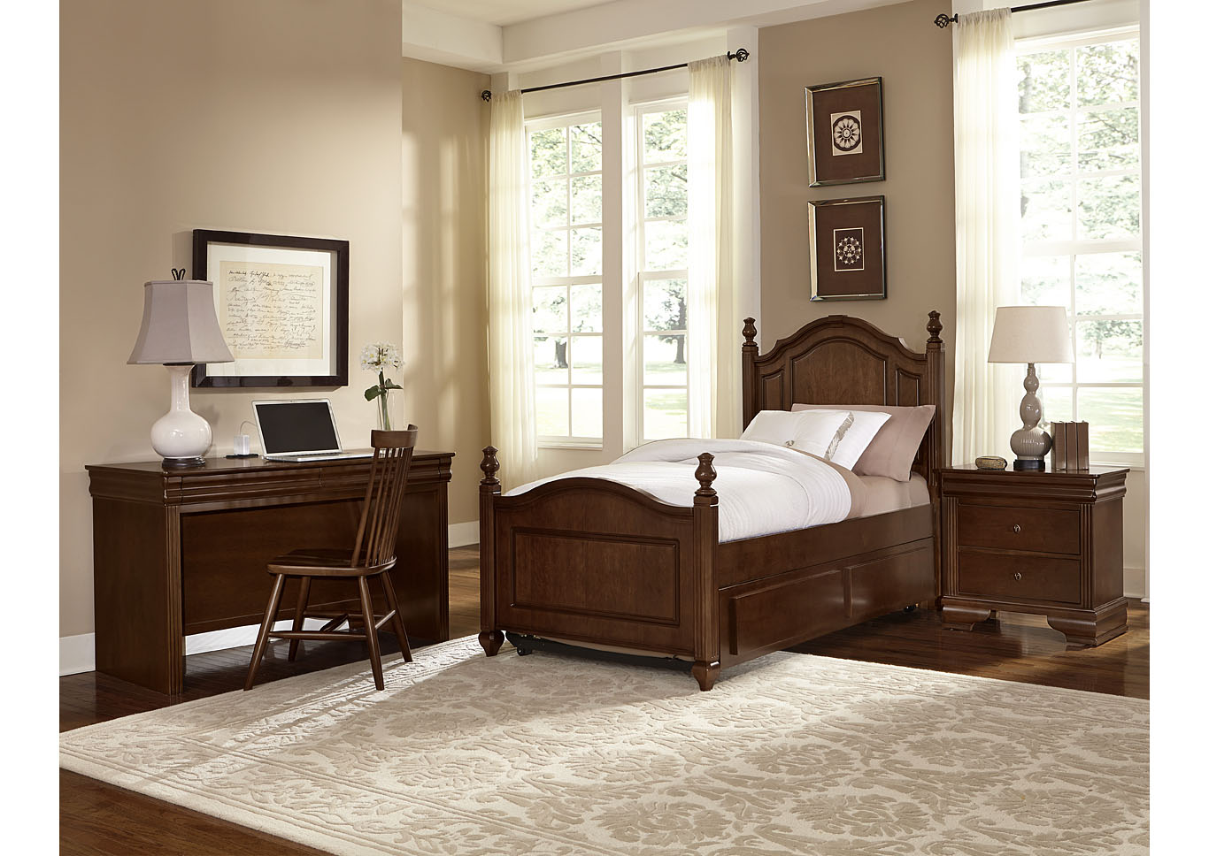 French Market French Cherry Twin Poster Bed w/ Desk, Chair and Nightstand,Vaughan-Bassett