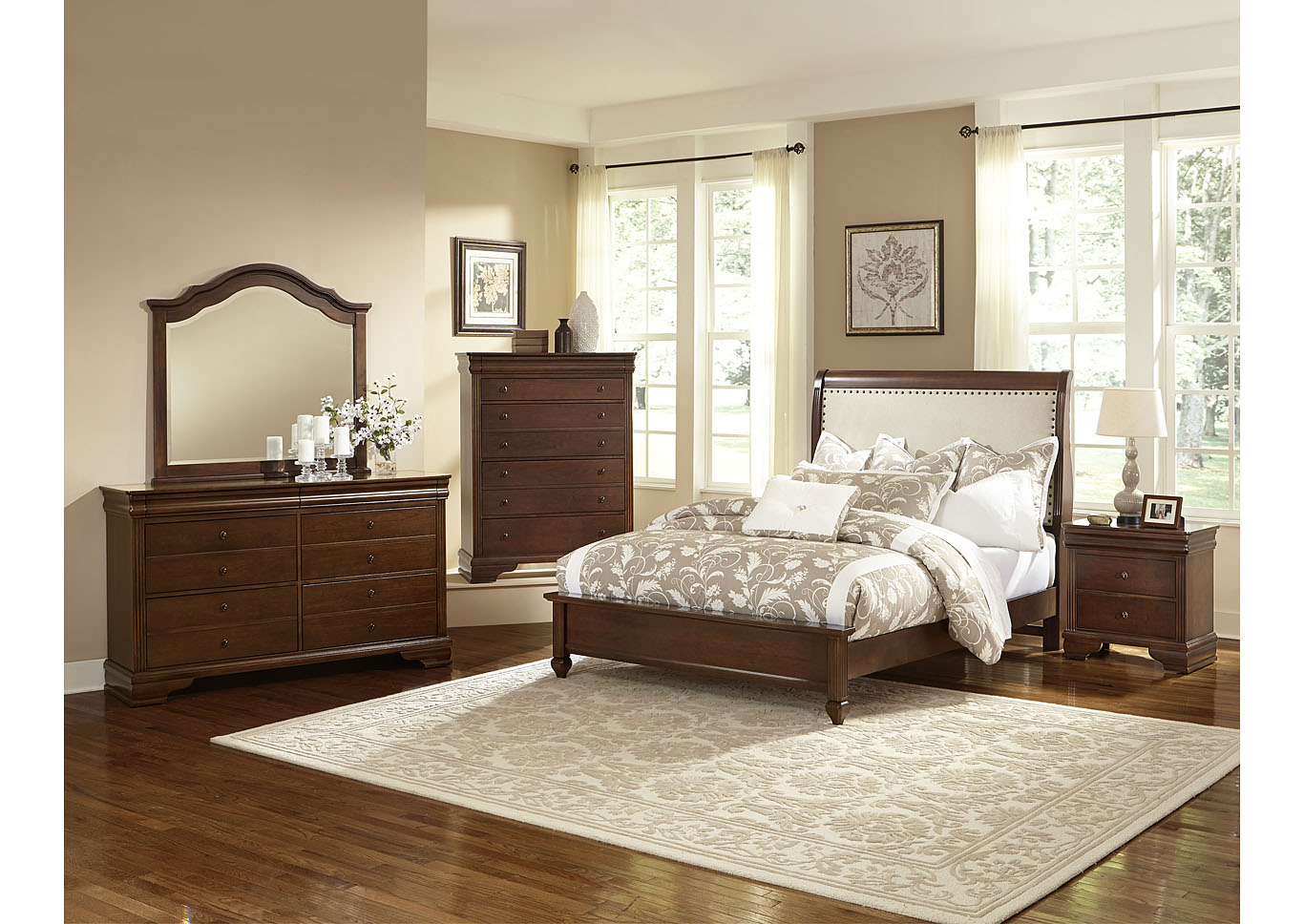 French Market French Cherry King Sleigh Bed w/ Dresser, Mirror, Drawer Chest and Nightstand,Vaughan-Bassett