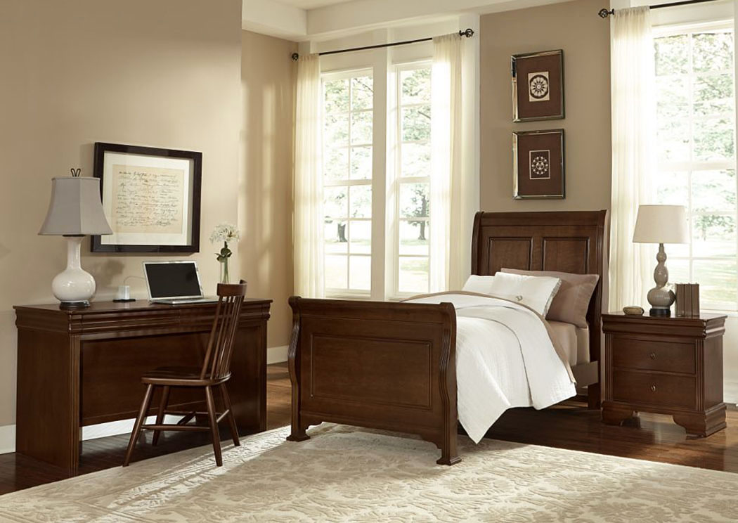 French Market French Cherry Twin Sleigh Bed w/ Desk and Chair,Vaughan-Bassett