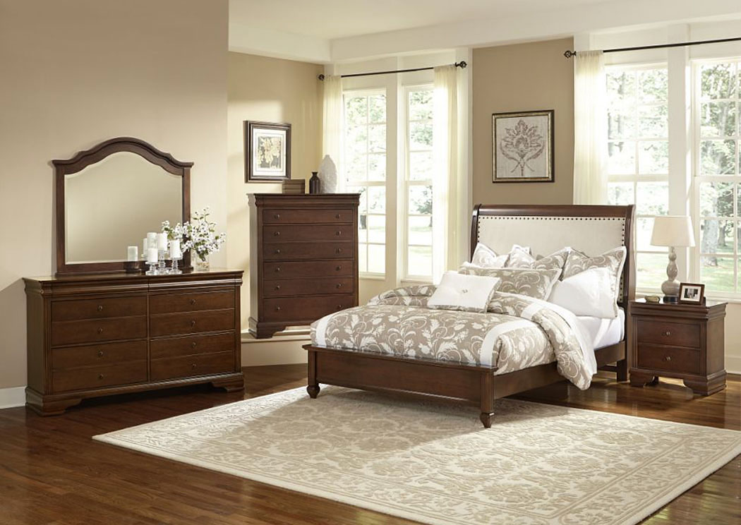 French Market French Cherry Upholstered Queen Bed w/ Dresser, Mirror, Drawer Chest and Nightstand,Vaughan-Bassett