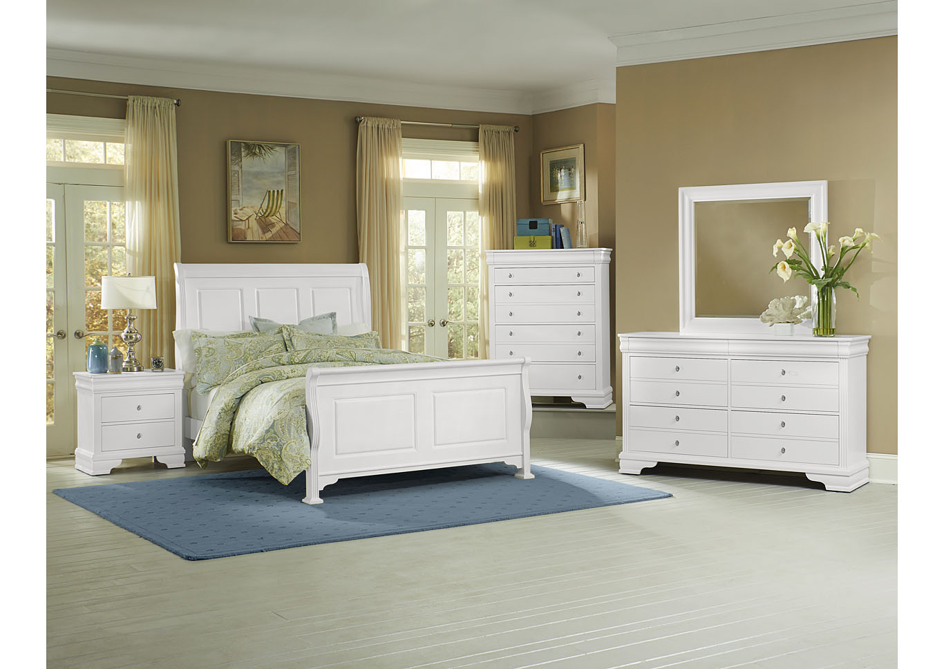 French Market Soft White Queen Poster Bed w/ Dresser, Mirror and Drawer Chest,Vaughan-Bassett