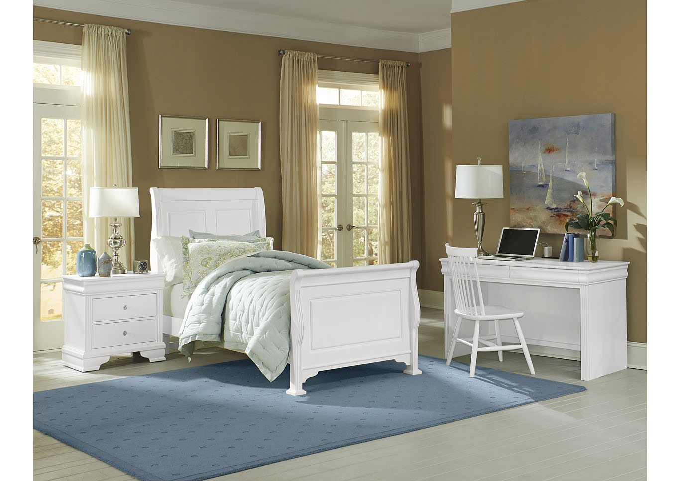 French Market Soft White Full Poster Bed w/ Desk, Chair and Nightstand,Vaughan-Bassett