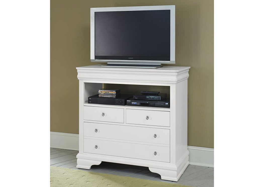 French Market Soft White 4 Drawer Media Chest,Vaughan-Bassett
