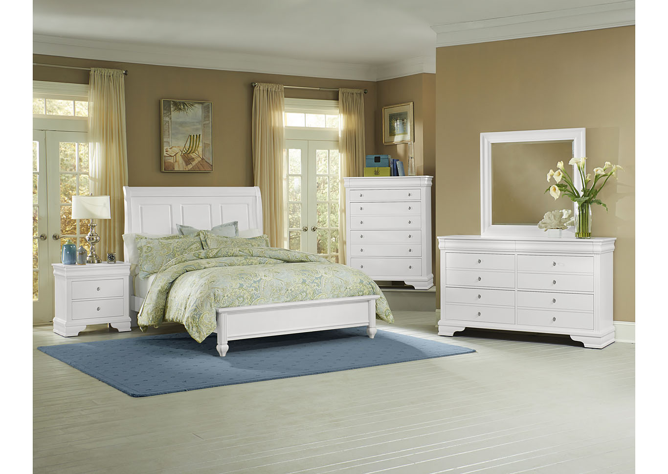 French Market Soft White King Sleigh Bed w/ Dresser, Mirror, Drawer Chest and Nightstand,Vaughan-Bassett