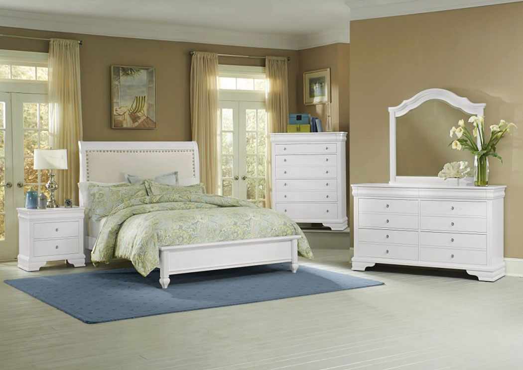 French Market Soft White Upholstered King Bed w/ Dresser, Mirror, Drawer Chest and Nightstand,Vaughan-Bassett