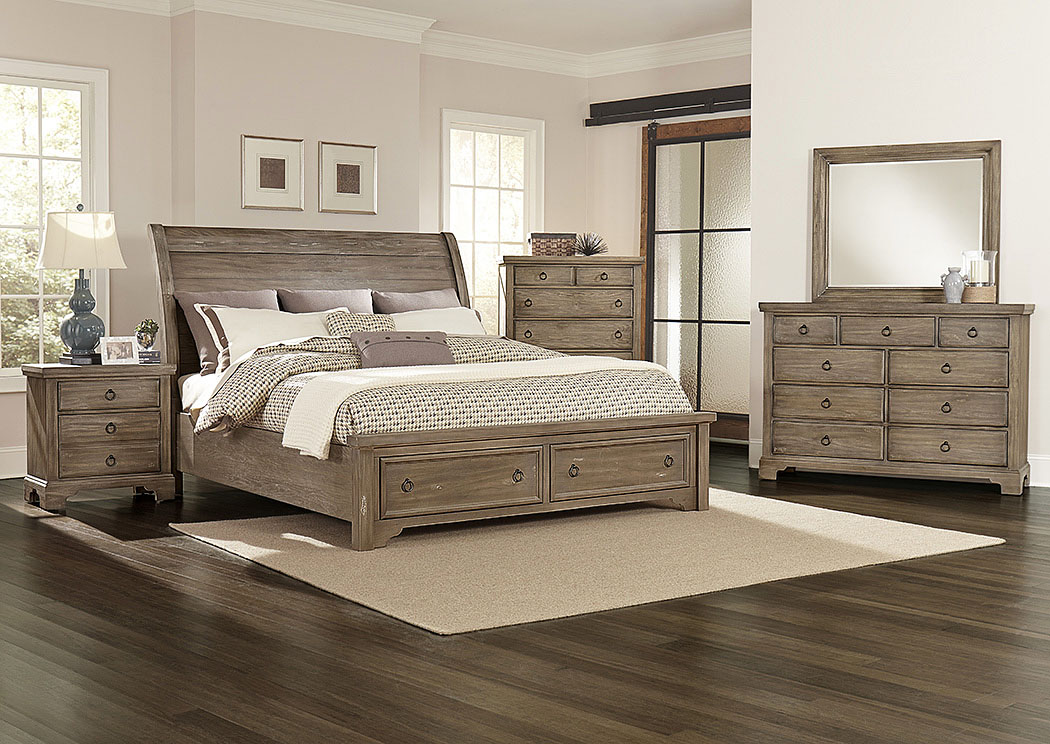 Whiskey Barrel Rustic Gray Queen Storage Sleigh Bed w/ Dresser and Mirror,Vaughan-Bassett