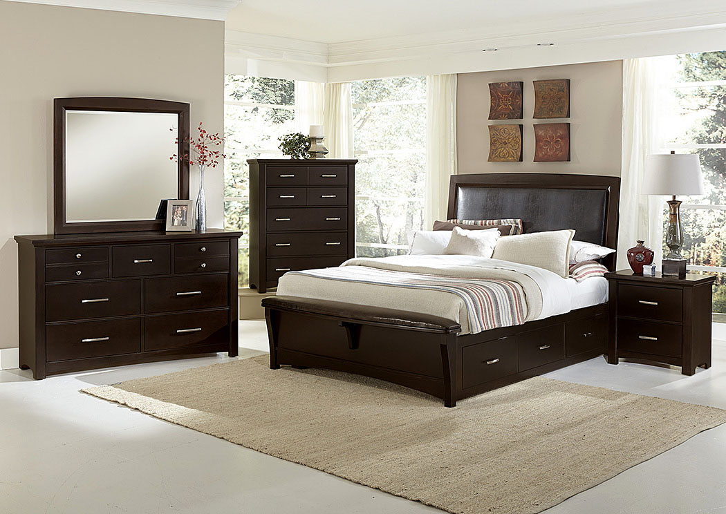 Furniture House   Dover, NJ Transitions Merlot Queen Upholstered Storage Bed