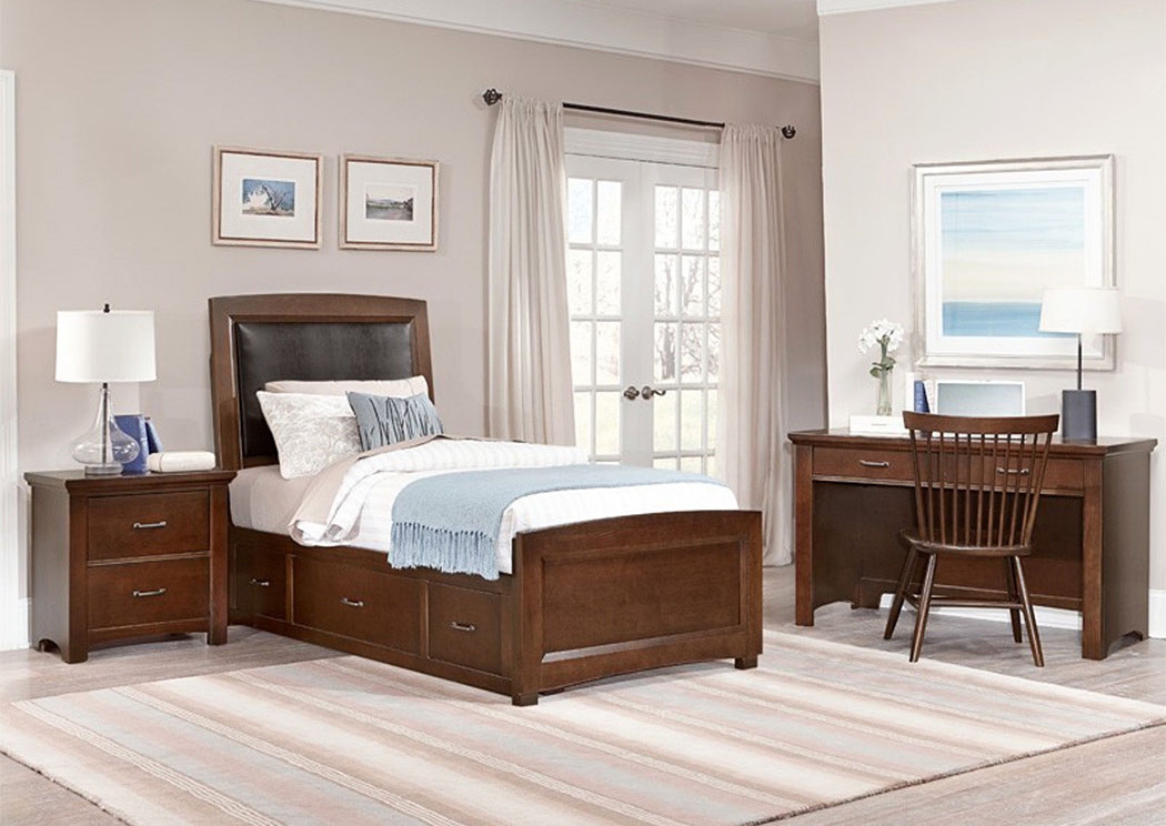 Transitions Dark Cherry Twin Upholstered Storage Bed,Vaughan-Bassett
