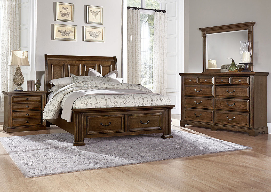 Woodlands Oak Queen Storage Sleigh Bed w/ Dresser, Mirror, Drawer Chest and Nightstand,Vaughan-Bassett