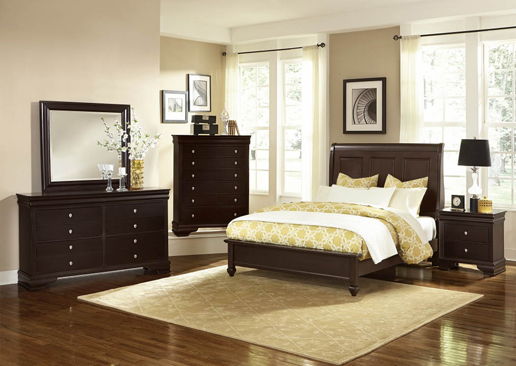 French Market Antique Merlot Queen Sleigh Bed w/ Dresser, Mirror and Drawer Chest,Vaughan-Bassett