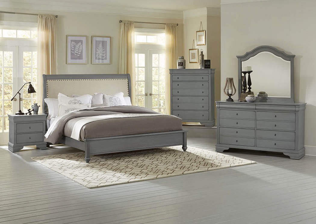 French Market Zinc Upholstered Queen Bed w/ Dresser, Mirror, Drawer Chest and Nightstand,Vaughan-Bassett