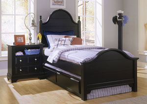 The Cottage Collection Black Twin Panel Bed w/ Trundle