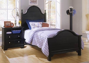 The Cottage Collection Black Twin Panel Bed