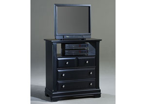 The Cottage Collection Black Media Cabinet - 2 Drawers, Open Shelf