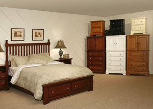 The Cottage Collection Cherry King Storage Poster Bed