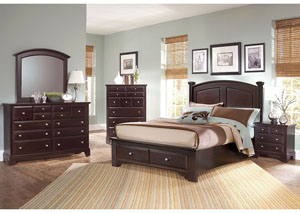 Hamilton/Franklin Merlot King Storage Bed w/ Dresser, Mirror, Drawer Chest and Nightstand