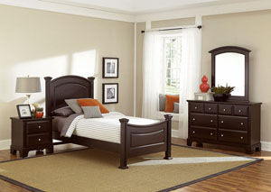 Hamilton/Franklin Merlot Full Panel Bed w/ Dresser, Mirror and Nightstand