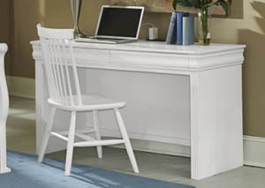 French Market Soft White 2 Drawer Laptop/Tablet Desk w/ Charging Station