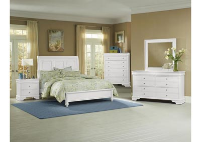 French Market Soft White King Sleigh Bed w/ Dresser, Mirror, Drawer Chest and Nightstand