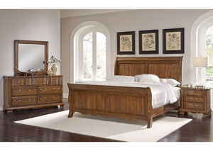 Villa Sophia Antique Cherry Queen Sleigh Bed w/ Dresser and Mirror,Vaughan-Bassett