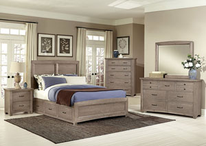 Transitions Driftwood Oak Queen Storage Bed