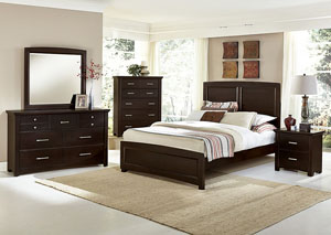 Transitions Merlot Queen Panel Bed w/ Dresser and Mirror